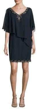 J Kara Bead Trim Dress with Chiffon Cape