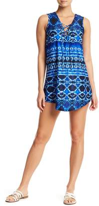 J Valdi Batik Lace-Up T Cover-Up Dress