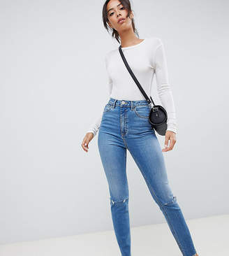 Asos Tall DESIGN Tall Farleigh high waist slim mom jeans in mid stonewash blue with rips