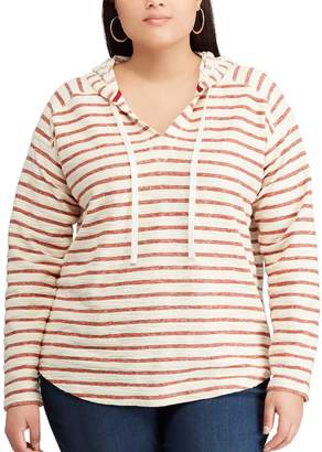 Chaps Plus Size Striped French Terry Hooded Top