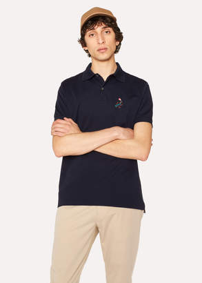 Paul Smith Men's Slim-Fit Navy Cotton-Pique Polo Shirt With Embroidered 'Koi Carp'