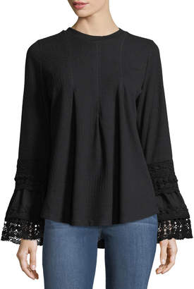 Lumie Bell-Sleeve Lace-Trim Sweater, Black