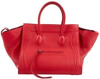 Celine Luggage Phantom Red Leather Handbag