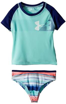 Under Armour Kids Hybrid Big Logo Rashguard Set Girl's Swimwear Sets