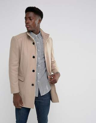 Selected Funnel Neck Wool Mix Overcoat