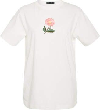 ALEXACHUNG Embroidered Flower Cotton T-Shirt