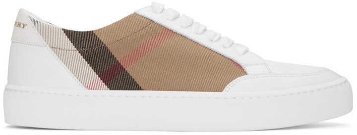 burberry discount outlet to17  Burberry White Salmond Check Sneakers