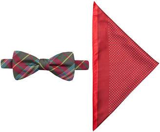 Jf J.Ferrar JF Charleston Tartan Pre-Tied Bow Tie & Pocket Square Set