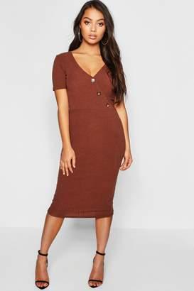 boohoo Petite Knitted Rib Wrap Bodycon Dress