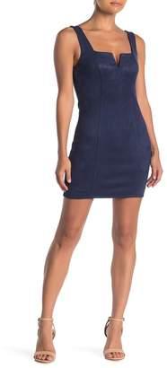 Ash MAX & Faux Suede V-Neck Mini Dress