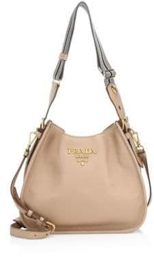 Prada Small Daino Leather Hobo Bag