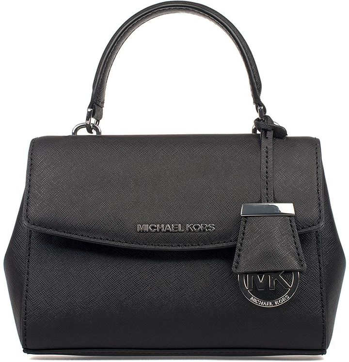 MICHAEL Michael Kors Black Ava Saffiano Leather Mini Top Handle Bag