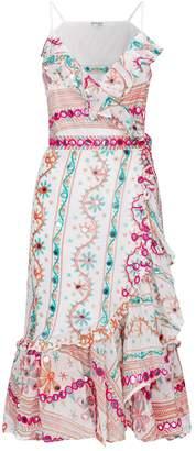Juliet Dunn Cotton Embroidered Wrap Dress