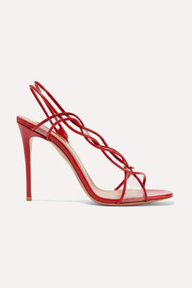 Aquazzura Swing 105 Pvc-trimmed Patent-leather Slingback Sandals - Red