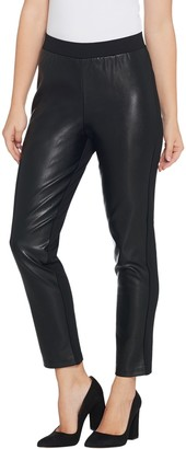 Joan Rivers Classics Collection Joan Rivers Petite Joan's Signature Ankle Pant w/ Faux Leather Front