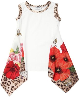 MonnaLisa Floral Printed Cotton Jersey T-Shirt