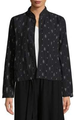 Eileen Fisher Mandarin Collar Printed Jacket