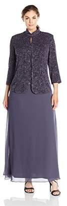 Alex Evenings Plus Size Gown and Mandarin Jacket Dress Set