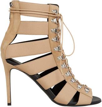 Balmain Lindsay Lace-Up Tan Sandals