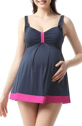 Kimi and Kai Jade Skirted Overlay One-Piece Maternity Swimsuit