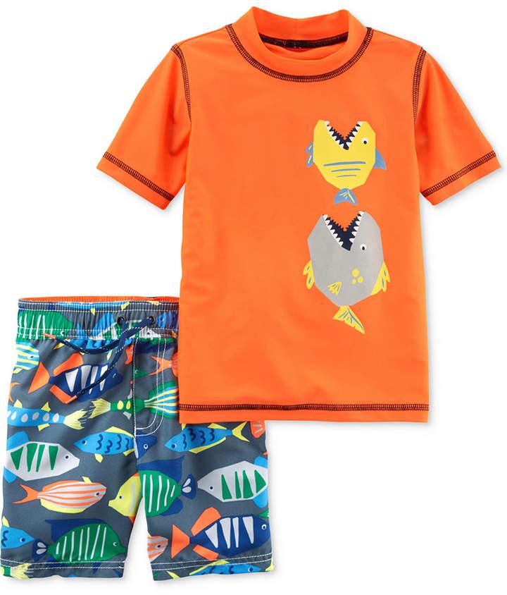 2-Pc. Fish Rash Guard & Swim Trunks Swim Set, Toddler Boys