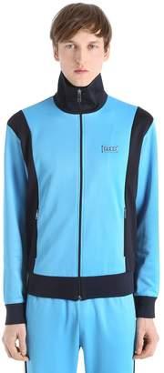Gucci Tiger Patch Jersey Zip-Up Sweatshirt