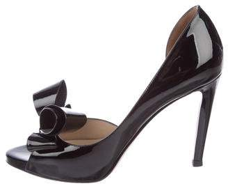 Valentino Patent Leather Peep-Toe Pumps