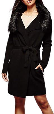 Yumi Faux Fur Wrap Cardigan, Black