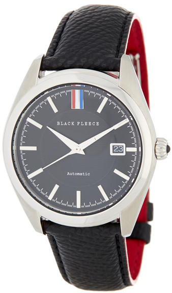 Brooks Brothers Brooks Brothers Men&s Fleece Collection Black Leather Strap Watch