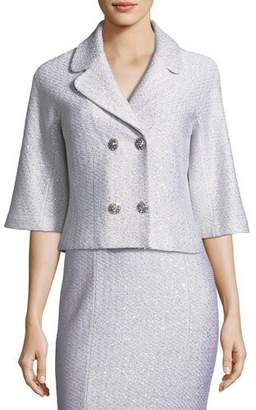 St. John Ripple Texture Sequin Knit Jacket