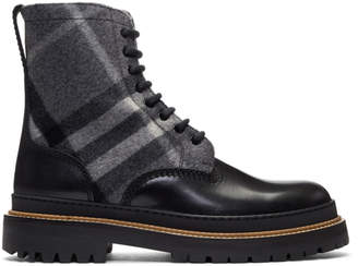 Burberry Black and Grey Check Shearling William Boots