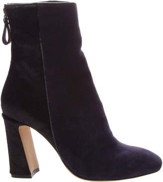 Alexandre Birman Corella Suede & Calf Hair Block-Heel 90mm Booties, Navy