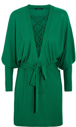 Balmain - Lace-up Jersey Mini Dress - Emerald $2,985 thestylecure.com