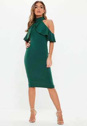 Missguided Green High Neck Frill Cold Shoulder Midi Dress