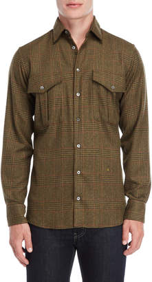 Peuterey Light Olive Glen Check Pocket Shirt