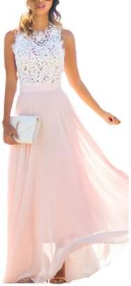 Zojuyozio Women Summer Elegant Lace Patchwork Chiffon Pleated Formal Maxi Dress S