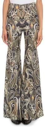 Chloé High-Waist Metallic Damask-Print Flared Pants