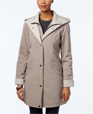 Jones New York Water-Resistant Hooded Colorblocked Raincoat $200 thestylecure.com
