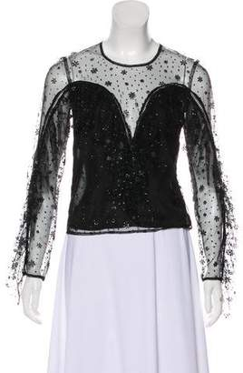 Alice McCall Ruffle-Accented Lace Top w/ Tags