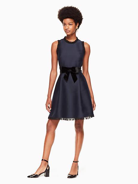 Velvet bow fit and flare dress