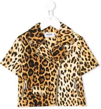 Moschino Kids leopard print shortsleeved jacket