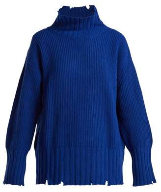 MSGM Distressed Oversized Wool Blend Sweater - Womens - Blue