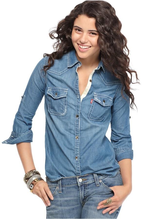 Levi's Jeans Top, Long Sleeve Heritage Denim Button Down Shirt