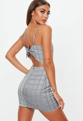 Missguided Check Print Tie Back Dress