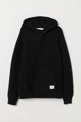 H&M Rib-knit Hooded Sweater - Black