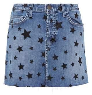 Current/Elliott Printed denim miniskirt
