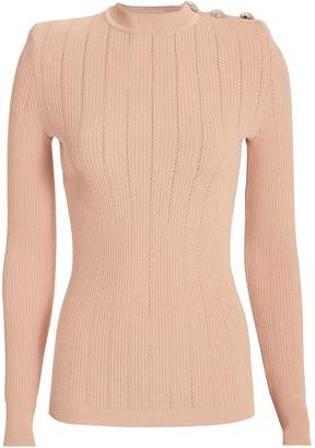 Balmain Button-Embellished Pointelle Knit Top