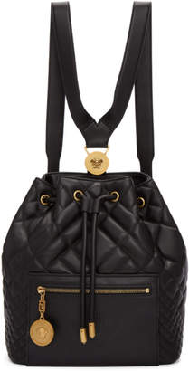 Versace Black Quilted Medusa Tribute Backpack