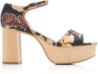 Tabitha Simmons x Johanna Ortiz Patton Floral-Print Raffia Platform Sandals