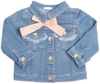Chloé Stretch Cotton Denim Jacket W/ Bow
